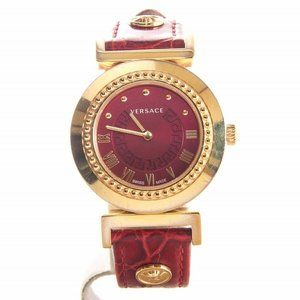 Versace medusa womens vanity red and gold watch